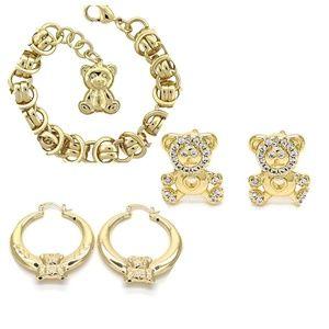 Gold Plated Teddy Bear Set